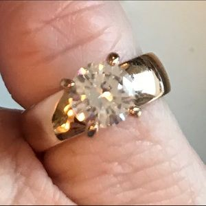 Simulated CZ Yellow Gold Over Silver Ring-Size 6